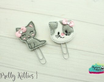 Cat Hair Clippies or Planner clips  { Pretty Kitty }  Choose style, gray kitten, birthday, vacation bow Hair Clip, Barette, No Slip