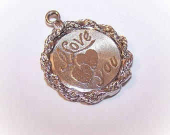 Vintage Charm,STERLING SILVER,Sterling Charm,Silver Charm,Disc Charm,Vintage Disc Charm,ELCO,I Love You,Hearts,Valentines Day,Mothers Day