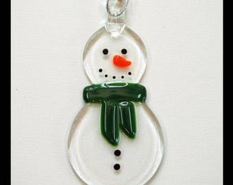 Glassworks Northwest - Clear Snowman with a Green Scarf - Fused Glass Ornament