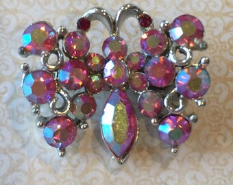 Vintage Pink Rhinestone Butterfly Brooch Pin insect moth jewelry