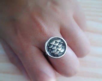 Mermaid Scales Jewelry - Mermaid Scales Sterling Silver Jewelry - Dragon Scales Jewelry - Dragon Scales Sterling Silver Ring - Mermaid Ring