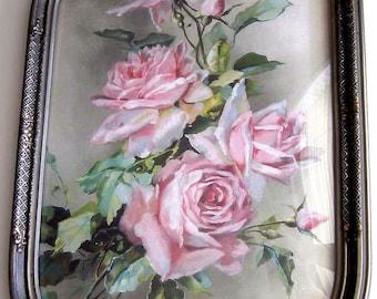 Roses, Print, Catherine Klein, Convex Glass, Antique Frame, Half Yard Long, Art Print, Shabby Chic, C Klein