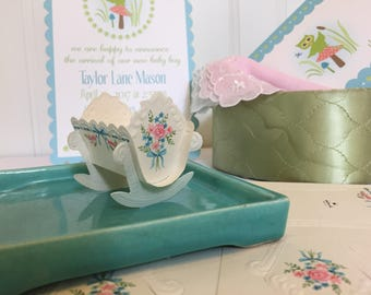 8 Vintage Baby Shower Cradle Favors, Hallmark Plans-a-Party Nutcups, Midcentury Baby Shower Favors, 1950s Baby Shower Decorations
