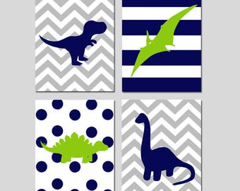 Dinosaur Nursery Artwork Dinosaur Nursery Art Dinosaur Nursery Decor Dinosaur Wall Art Dinosaur Set of 4 Dinosaur Prints  CHOOSE YOUR COLORS