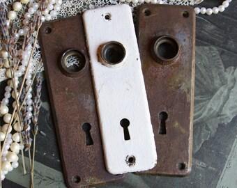 Vintage Distressed ESCUTCHEON Plates Old DOOR Hardware- Salvaged Door Knob Plate Back Plate- A31