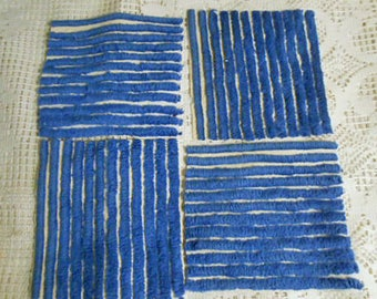 "18 ROYAL BLUE CHENILLE Pc Lot, Striped Cotton 6"" Squares, Thick Tufted Textured Patchwork Quilt Pillow Purse Sewing Projects Vintage 1930s"
