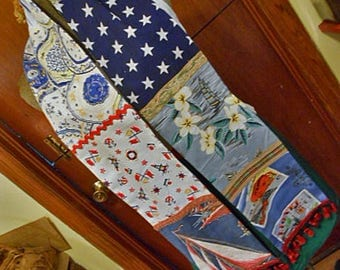 Comfy SAILBOATS & TRAIN PATCHWORK Scarf 7 Guy Theme Blue Prints Nautical Stars Sailing Lionel Plates, Flannel Back Soft Warm Chill Chaser