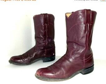 Roper style  Burgandy Wine Justin cowboy boots size 6.5 B