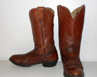 Mens 9.5 D Cowboy Boots Durango Brown Leather Vintage Distressed Rockabilly