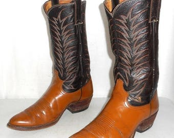 Mens 7.5 E Justin Cowboy Boots Wide Vintage Two Tone Urban / Womens 9 Indie Folk
