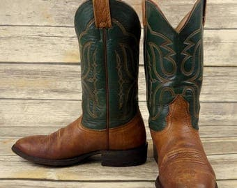 Mens 8 D Cowboy Boots Nocona Hunter Green Tan Brown Distressed Western Country