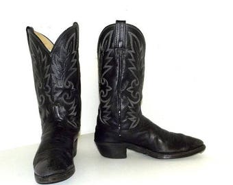 Broken In Cowboy Boots - Black - Dan Post brand - size 10 D or cowgirl size 11.5