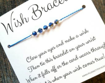 Wish Bracelet - Available In Over 100 Different Colors!!!  (Magnificent Blue Firepolish Crystals)