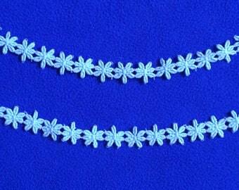 "Vintage Trim Light Blue Floral 1/2"" wide x 2 yards BTY Made in England Flowers"