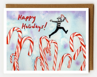 Funny Holiday Card, Happy Holidays Card, BFF Card, Cute Christmas Card, Cool Holiday Card, Quirky, Fun Xmas Card, Candy Canes,Kids Holiday