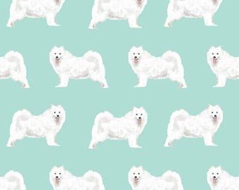 White Fluffy Dog Fabric - White Samoyed Dog Sled Dog Mint Blue By Petfriendly - Samoyed Dog Puppy Cotton Fabric by the Yard with Spoonflower