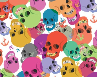 Skull Rainbow Fabric - Skulls And Anchors By Ornaart - Skull Nautical Pirate Rainbow Colorful Cotton Fabric By The Yard With Spoonflower