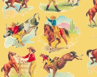 Vintage Western Fabric - Cowboy Cowgirl By Parisbebe - Vintage Wild West Cowboy Rodeo Rancher Cotton Fabric By The Yard With Spoonflower