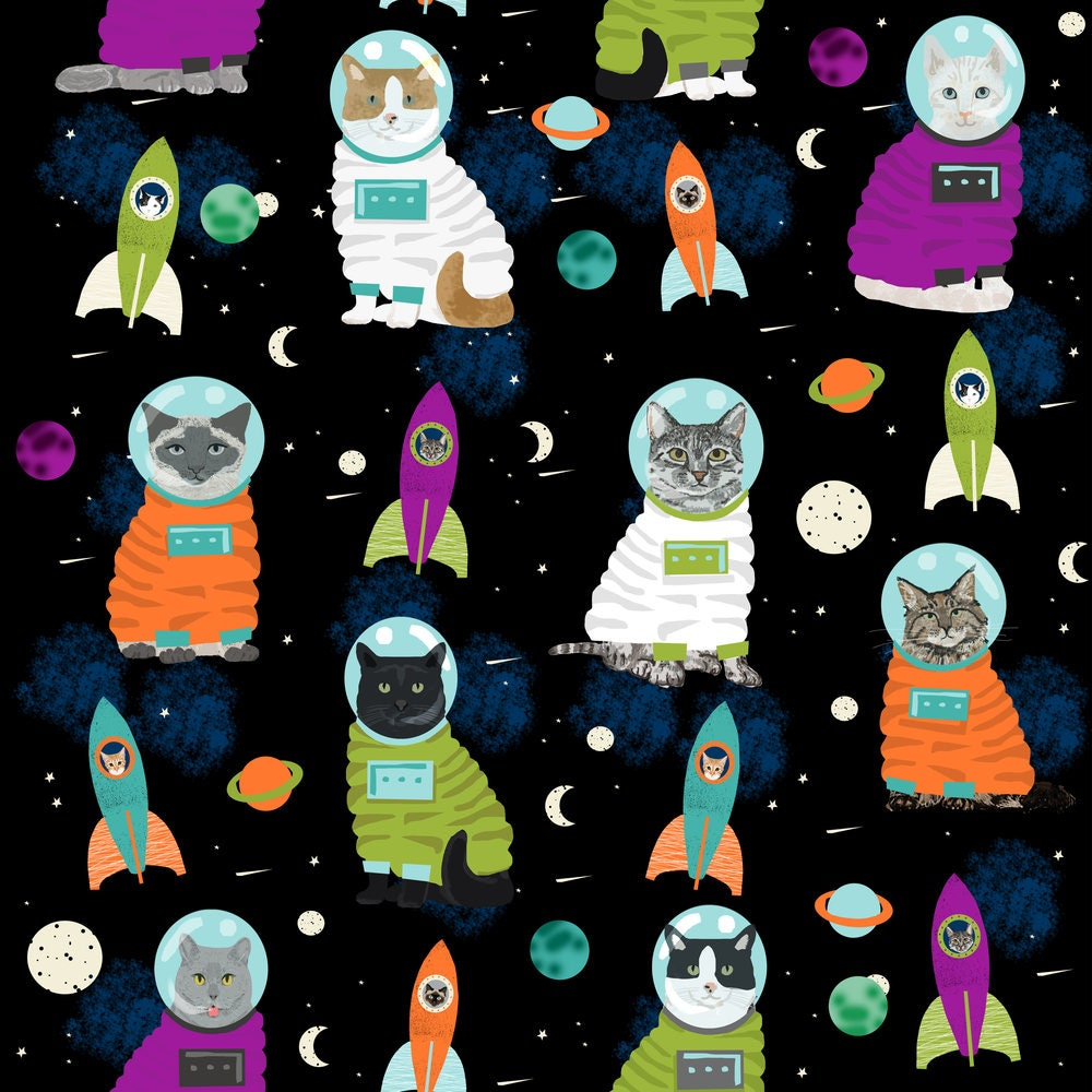 Galaxy cats fabric space cats fabric cute cat kittens kitty for Space fabric by the yard