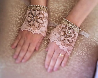 Old Rose pink lace cuff bracelets, floral bead embroidery lace jewelry, romantic pair of bridal wrist cuffs, wedding, Swarovski pearls