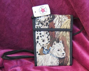 Tapestry Fabric WESTHIGHLAND WHITE Terrier/Westie Wallet Purse w/Corded Strap made in USA