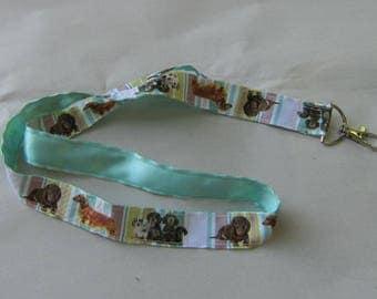 Handmade Grosgrain & Satin Ribbon Dog DACHSHUND Lanyard/Keychain/Badge Holder w/Metal Charm...choose color