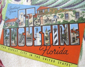 Vintage Florida postcard St. Augustine 1940s large letter linen Floridiana souvenir