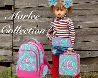 GIRLS personalized backpack , Back To School , kids backpack , lunch box,  monogrammed backpack , girls backpack, MARLEE