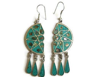 Mexico Alpaca Inlaid Turquoise Chips & Abalone Dangle Earrings Vintage Mid-Century Aztec
