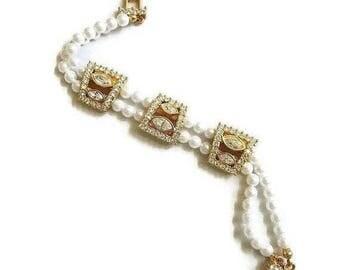 SALE Faux Pearl and Clear Rhinestone Bracelet Vintage Bride