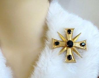 SALE Weiss signed Maltese Cross Brooch Pendant Vintage with Black Rhinestones