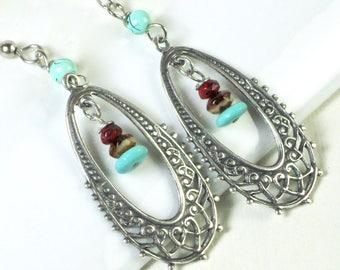 Silver Hoop Earrings - Boho Earrings, Filigree Earrings, Silver Earrings, Turquoise Earrings