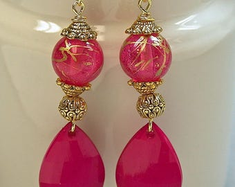 Vintage Japanese PINK GOLD Lucite Bead Dangle Drop Bead Earrings, Vintage German PINK Faceted Teardrop Dangles ,Gold Ear Wires-Gift Wrapped