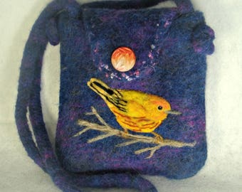 Felted Purse, Felted Handbag, Bird Art, Yellow Warbler Bird, Needle Felt Bird, Fiber Art, Hand Knit Purse