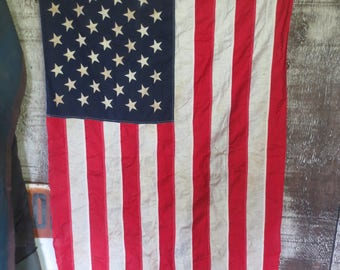 US Flag / 50 Stars 3 x 5 feet, Valley Forge Co - American Flag, Patriot Flag - 4h of July / Aged patina / Vintage