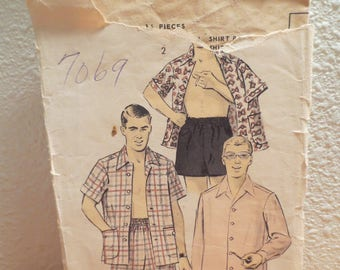 Advance Vintage Pattern 7069 / 1940s pattern / mens trunks and sport Shirt / unprinted patten / pattern and instructions