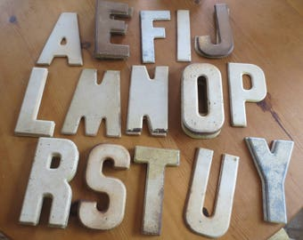 Vintage Metal Letters / Old Marquee Advertising Sign Letters / Rusty Metal Chippy Paint / Industrial Craft Repurpose Chippy Paint Signage