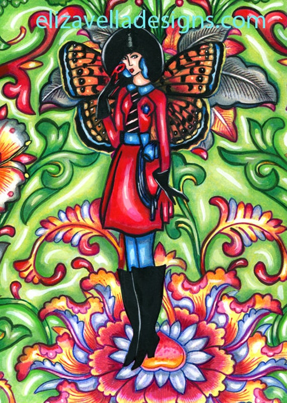witch butterfly fairy original art painting flowers fantasy faerie watercolor art deco Elizavella