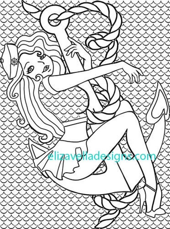 sailor pinup girl anchor coloring page printable coloring pages for adults printable coloring page pin up girls coloring book page printable