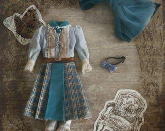 Jiajia Doll limited 4 pieces English Afternoon Tea set in blue for Blythe momoko azone pullip dorandoran middie blyte