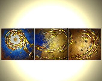 Abstract Blue Gold Textured ORIGINAL Modern PAINTING On Sale By Dan Lafferty - 12x36
