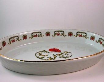 Vintage Louis Lourioux Le Faune Oval Casserole Dish Fireproof Porcelain Oval Baker Made in France Floral Design Chantoung Pattern