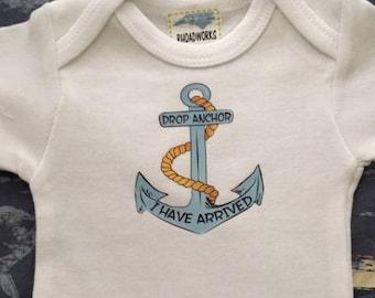 Drop Anchor Bodysuit, New Baby Bodysuit, Nautical baby clothes, Nautical baby bodysuit