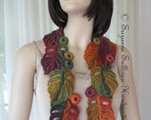 Philodendron Leaf Scarf, Woman's Crocheted Leaf Scarf, Vibrant Colored Scarf, Multi Colored Leaf Scarf, Leaves, Unique Scarf