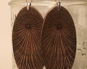 Super Fireworks Large Macadamia Wood Lightweight Earrings