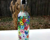 Dish Soap Dispenser,  Recycled Clear Beer Bottle, Painted Glass, Oil and Vinegar Bottle, Colorful Flowers, Soap Bottle, Kitchen Deco