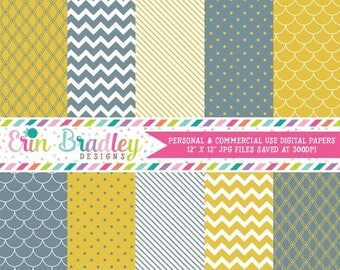 80% OFF SALE Digital Paper Pack Personal and Commercial Use Yellow and Slate Blue
