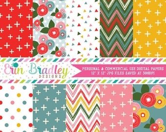 80% OFF SALE Pink Bloom Digital Paper Pack with Floral Chevron Cross Triangle and Polka Dotted Patterns
