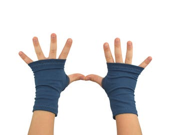 Toddler Arm Warmers in Midnight Blue - Organic Cotton Fingerless Gloves