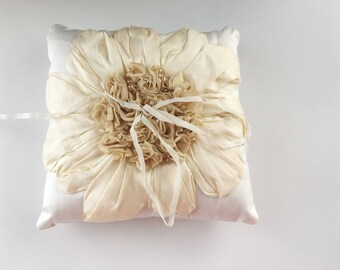 Ready to ship - Ruffles and Silk Ring Pillow - ivory, champagne, and cream
